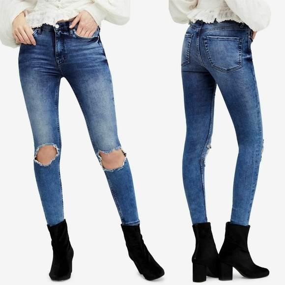 Free People Denim - Free People Busted Ripped High Rise Skinny Jeans